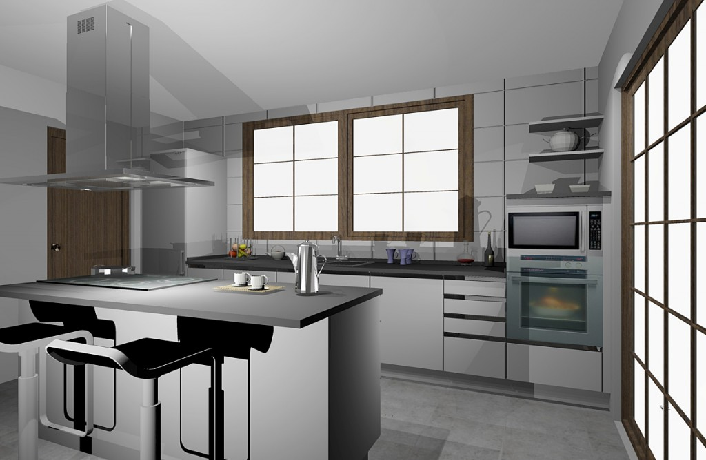 Proyecto 3D para una cocina con isla en Barbastro (Huesca)