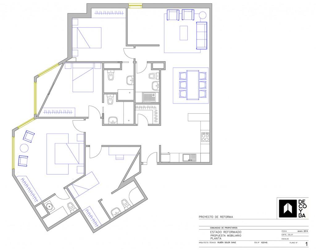 En un proyecto de distribución interior de una vivienda el Arquitecto Técnico del equipo de Decoyba
