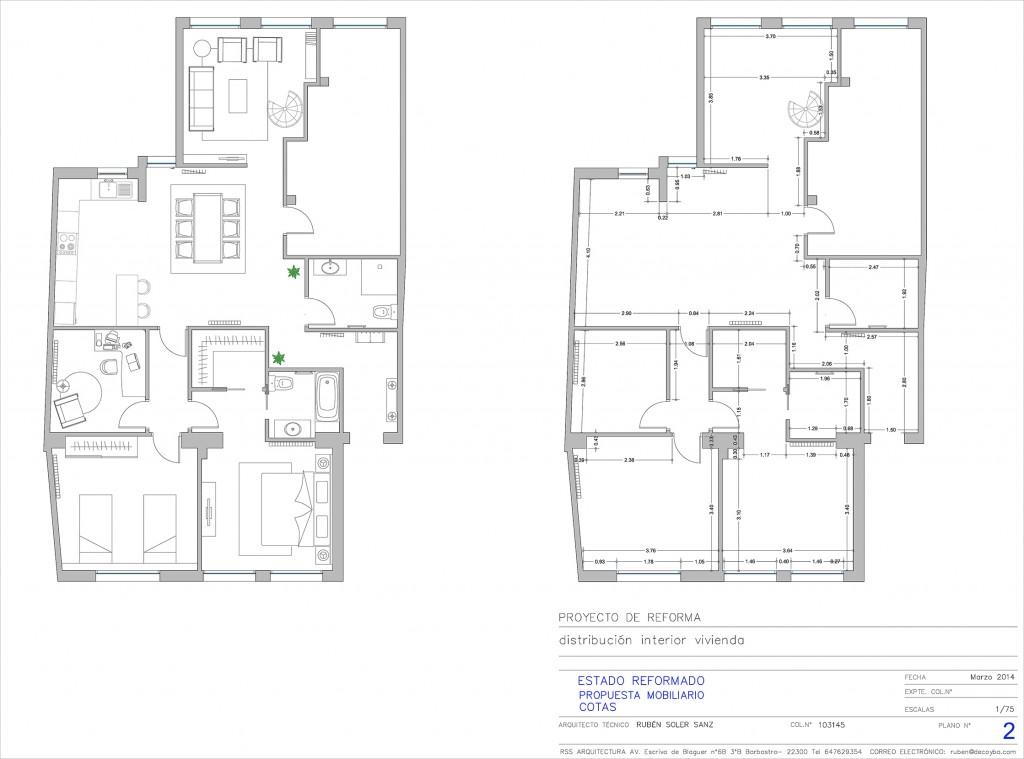 Proyecto de Distribución Interior de una vivienda con zonas acotadas y propuesta de mobiliario.